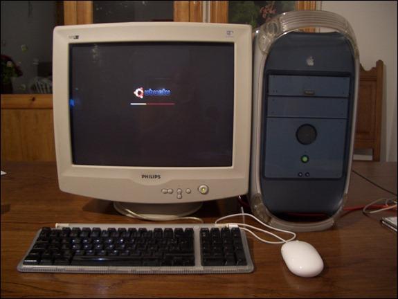 Ubuntu arrancando en el PowerMac G4