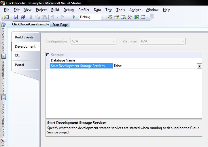 Evitar lanzar Development Storage Services