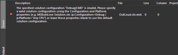 "error MSB4126: The specified solution configuration ""Debug